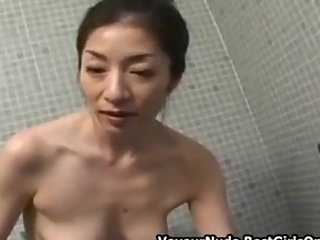 Japanese Asian Sexy MILF Blowjob Shower Voyeur