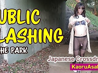 ?Preview?Japanese crossdresser public flashing and pee in the park