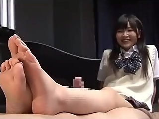 Jpanese school legs fetish and footjob cumming
