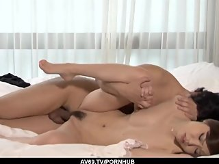 Sensual fuck moments in bed with adorable Nao - More at 69avs com