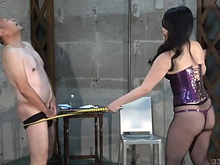 Japanese Femdom Dominatrix Whipping and Handjob