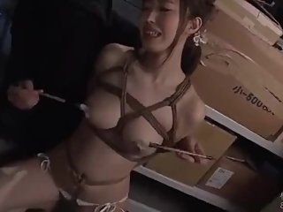 Japanese big titted babe like to fantasize herself in bondage