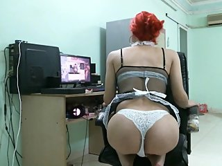 Red Head Maid Jianna Lust Just Waiting For Her Boss to Come Home and Relax
