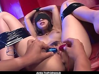 Naked Aika fucked blind folded and jizzed on tits - More at 69avs com