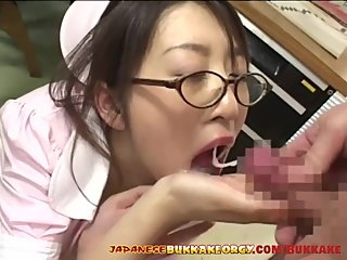 16 cumshots for cute Japanese Nurse - Japanese Bukkake Orgy