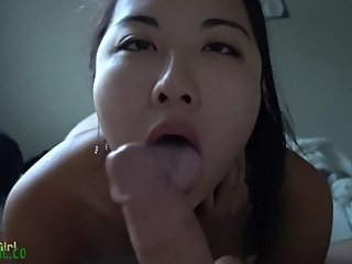 Asian girl deepthroat and creampie