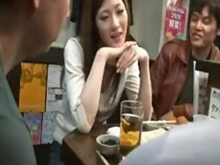 Beauty Japanese switching stealth handjob under table in restaurant