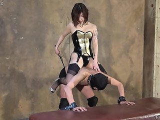 Japanese Mistress Sherry Rides Her Horse Slave