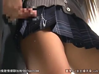 Cum on school girl short skirt in the metro